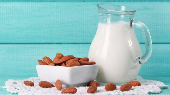 almond nut milk blue wood
